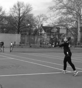 Hornet practices on the tennis court.