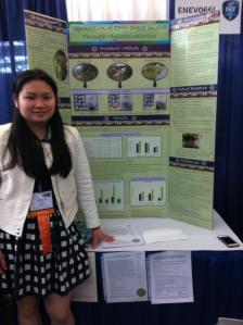 Lucy Lin presents during public viewing at International Science and Engineering Fair.