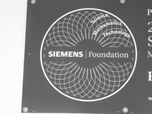 Siemens Foundation banner in front of A214